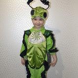 прокат детский карнавальный костюм жук, жучок кузнечик, светлячок, світлячок, коник стрибунец