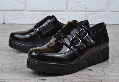 Туфли женские на платформе черные лакированные криперы Twist