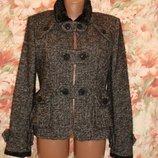Шикарное шерстяное твидовое полу пальто лимитированной коллекции mng