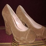 Туфли CENTRO женские бежевые на каблуке 37р 24см по стельке