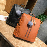 Стильный рюкзак-сумка трансформер с помпоном В Наличии