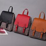 модный городской рюкзак ранец в клетку В наличии
