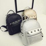 Стильный городской плетеный рюкзак с заклепками для модных девушек В Наличии