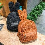 Супер стильный ворсинистый рюкзак с ушками зайца В Наличии