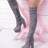Женские серые замшевые сапоги ботфорты