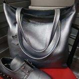 Стильная сумка шоппер на молнии кожаная натуральная