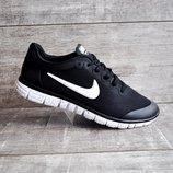 Кроссовки мужские сетка Nike Free Run 3.0 черные с белым 41-45р