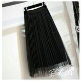 Юбочка Фабричный Китай качество люкс ткань фатин плиссе талия на резинке.