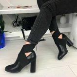 Женские черные ботильоны на каблуке