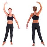 Лосины гимнастические детские бифлекс 1203 черный, размер 32-48 рост 122-176см