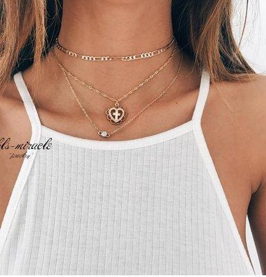 Тройная цепочка ожерелье с подвесками сердце с крестиком и кристаллом под золото