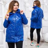 Стильное женское пальто-куртка на синтепоне в больших размерах 147-1 Плащёвка Жемчужины в расцветк