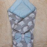 Конверт-Одеяло двухсторонний, голубой с совами