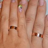 Серебряное обручальное кольцо с золотыми напайками Обр-2