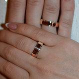 Обручальное серебряное кольцо с золотыми пластинами Обр-5