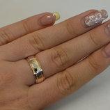 Кольцо обручальное из серебра с золотыми вставками Обр6