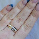 Обручальное кольцо из серебра с золотом Обр9