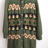 Пальто вязаное на подкладке Большой размер