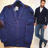 кофта мужская синяя De Facto на пуговицах с коричневыми латками на локтях