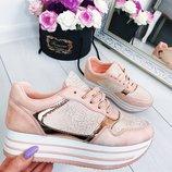Кроссовки на платформе Gossamer. Пудра. Розовые