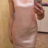 Платье майка в паетки пудра