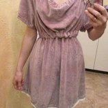 Велюровое пудровое платье