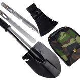 Лопатка саперная с ручкой 4 в 1 топор,ножовка,нож