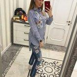Блуза вышивка 3 цвета 42,44,46,48 размеры