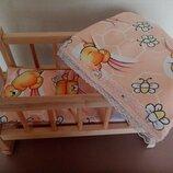 Деревянная кроватка для пупсов типа Беби Борн, 44см длина
