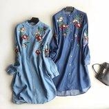 Женские джинсовые рубашки-платья с вышивкой