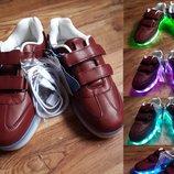 Ультрамодные кроссовки с led подсветкой размер 34, 18-2 Ю