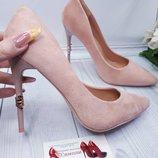Пудровые туфельки под замш