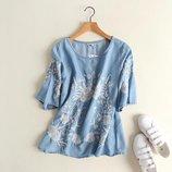 Джинсовые блузы и рубашки с вышивкой короткий рукав