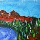 Картина абстракция Озеро