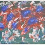 Картина абстракция Маки в ультрамариновом свете