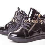 Ботинки для девочки Солнце 32, 33, 34, 35, 36, 37 р черный 8F086-3A Ботинки для девочки черного цв