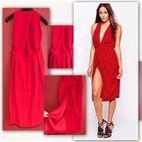 Эффектное красное платье миди от ASOS M/L