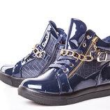 Ботинки для девочки Солнце 32, 33, 34, 35, 36, 37 р синий 8F086-3B Ботинки для девочки синего цвет