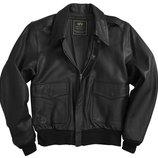 Шкіряна льотна куртка A-2 Goatskin Leather Jacket Alpha Industries чорна