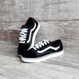Подростковые кеды Vans Old Skool черные с белым 37-41