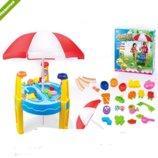 Детский столик-песочница с зонтиком 8804A
