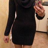 Поделиться Синее теплое платье с
