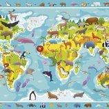 Детский Пазл DoDo Карта Мира Зверушки Пазл Мапа Світу Тваринки