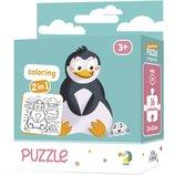 Пазл и раскраска DoDo Пингвинчик детский Пазл 2в1 Пінгвінчик