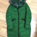 Теплое длинное пальто на синтепоне