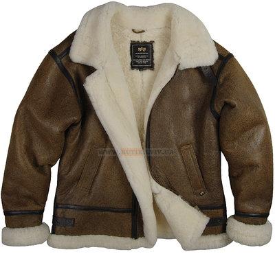 Кожаная летная куртка B-3 Sherpa Alpha Industries