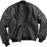Кожаная мужская летная куртка MA-1 Leather черная