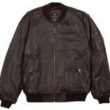 Кожаная мужская летная куртка MA-1 Leather коричневая