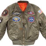 Куртка Boys MA-1 Jacket with Patches Alpha Industries оливковая