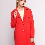Новое женское весеннее пальто жакет пиджак блайзер красный на пуговицах stradivarius